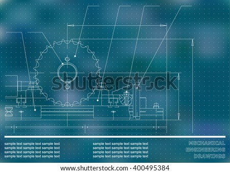 Mechanical drawings on a blue and white background. Engineering illustration. Vector. Points #400495384