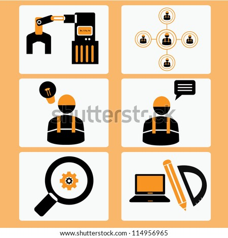 Management business machine industrial and construction icon set
