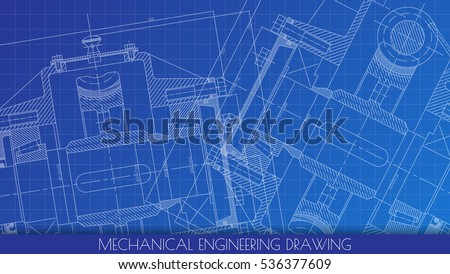 Mechanical Engineering drawing. Engineering Drawing Background. Vector