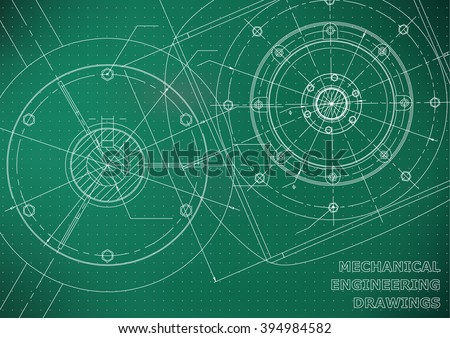 Mechanical engineering drawings. Background for inscription. Vector. White and green. Points