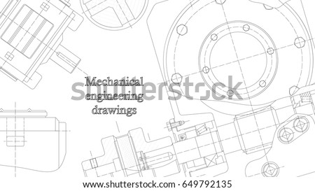 Mechanical engineering drawings. Vector engineering blueprints background. Corporate Identity. Cover. Banner. Technical Design white
