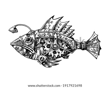 mechanical fish hand drawn