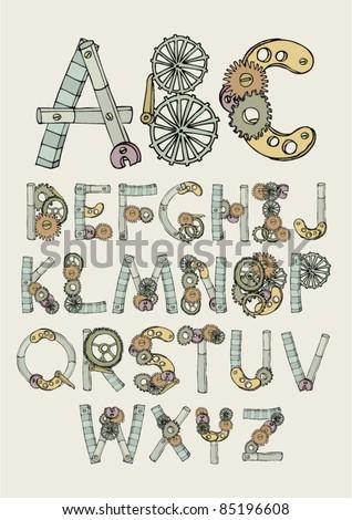 mechanical font illustration