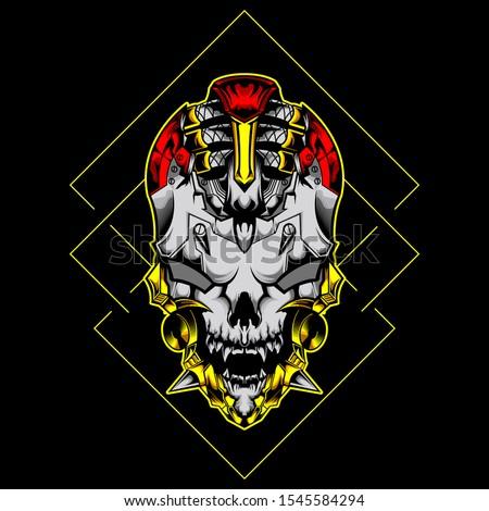 mechanical head skull cyberpunk