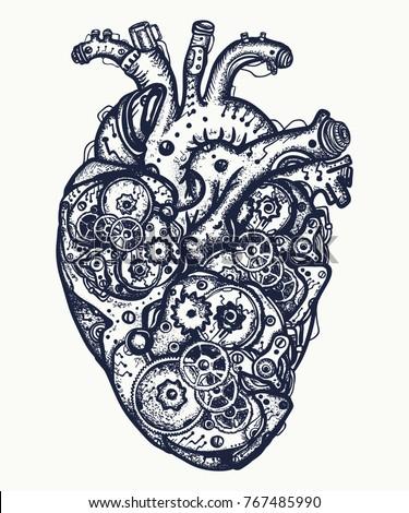 Mechanical heart tattoo. Symbol of emotions, love, feeling. Anatomic mechanic heart steampunk t-shirt design