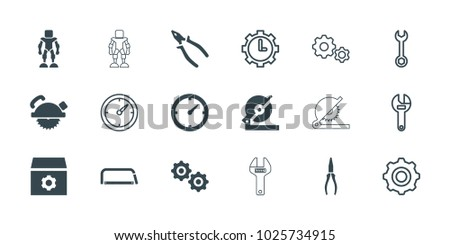 Mechanical icons. set of 18 editable filled and outline mechanical icons: gear, circular saw, saw blade, pliers, clock, wrench, clock in gear, gear    sign symb, hacksaw