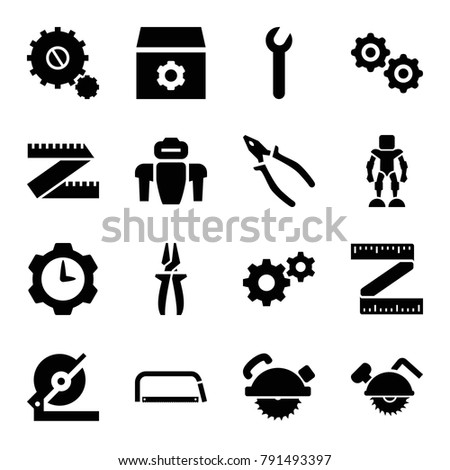 Mechanical icons. set of 16 editable filled mechanical icons such as gear, circular saw, saw blade, pliers, measure ruler, wrench, gear clock, hacksaw