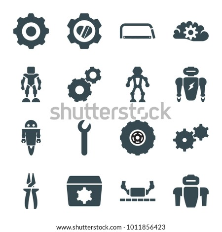 Mechanical icons. set of 16 editable filled mechanical icons such as gear, heart in gear, robot, gear    sign symb, wrench, hacksaw