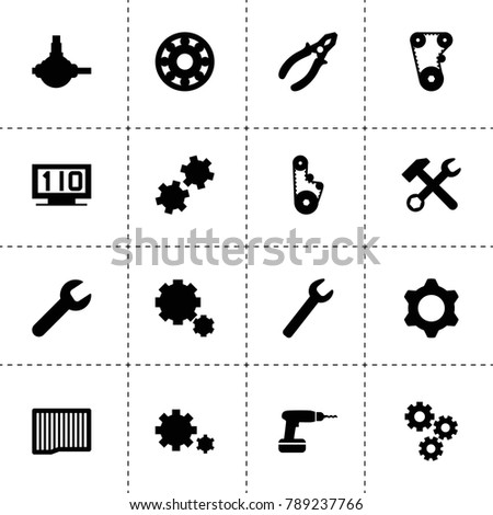 Mechanical icons. vector collection filled mechanical icons. includes symbols such as gear, wrench, air filter, wrench hammer, timing belt. use for web, mobile and ui design.
