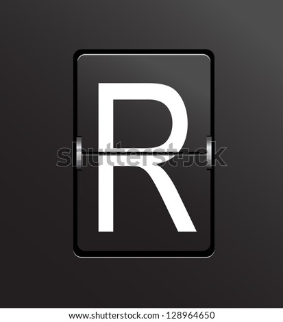 Mechanical, panel letter R on black background. Also vector available.