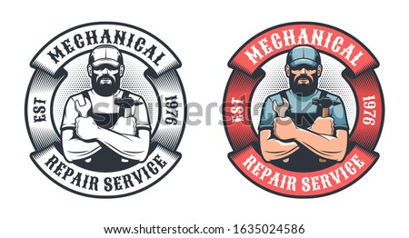 Mechanical repair service retro logo. Worker with hammer and spanner vintage emblem. Vector illustration. Stock photo ©