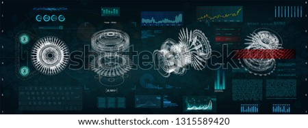 Mechanical scheme HUD style. Futuristic interface with circles and geometric parts of the mechanism. Jet engine, blueprints parts, x ray mechanisms, hologram.  Future design engineering design HUD