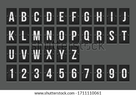 Mechanical scoreboard alphabet and numbers vector illustration ストックフォト ©