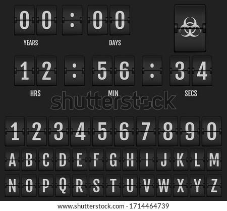 Mechanical Scoreboard Alphabet. Coronavirus Doomsday Alphabet. Stockfoto ©