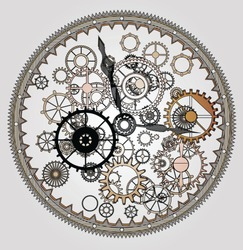 Mechanical steampunk vintage clock with cogs and gears of London