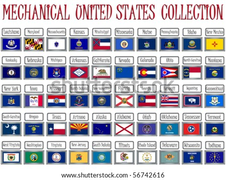 mechanical united states flags collection against white background, abstract vector art illustration