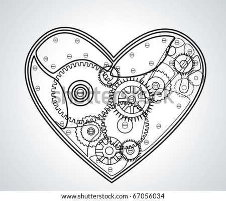 Mechanical Valentine heart. Vector