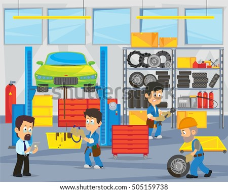 mechanics repairing car in garage. interior garage. vector illustration.