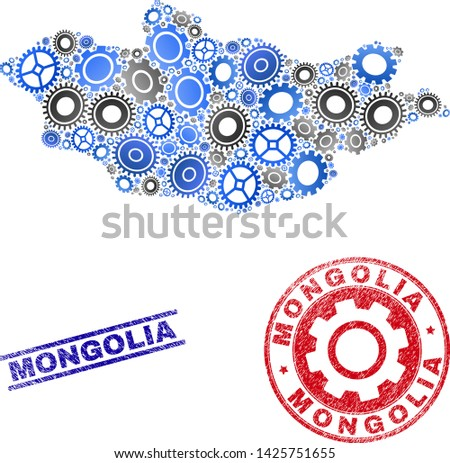 Mechanics vector Mongolia map composition and seals. Abstract Mongolia map is composed from gradient randomized cogwheels. Engineering geographic plan in gray and blue colors,