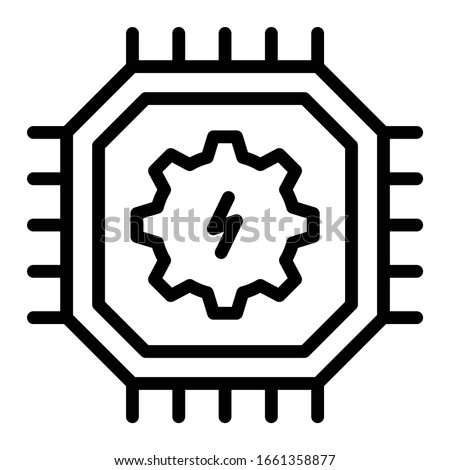 mechatronic engineering concept. high performance robotic energy saving microprocessor chip vector icon design