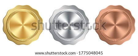 Medal Award vector set in gold, silver and bronze on white isolated background.