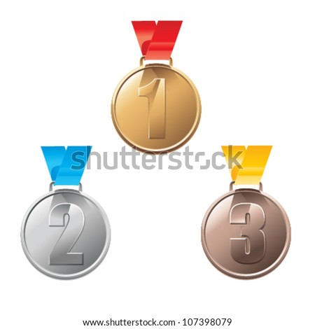 Medal awards for first, second and third place isolated on a white background.