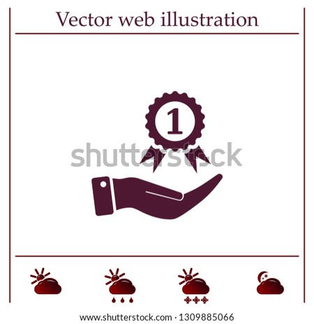 Medal for the first place on the hand. Vector icon.