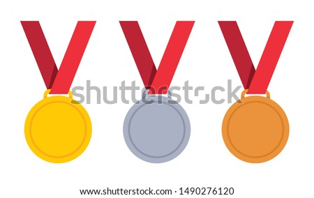 Medal - gold, silver and bronze set. Vector illustration