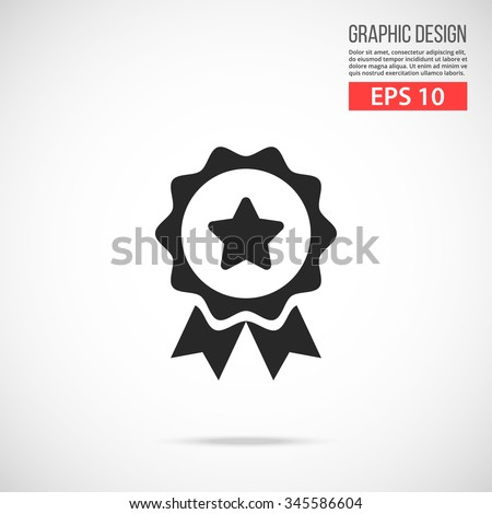 Medal icon. Award black pictogram. Modern flat design vector illustration, new high quality concept for web banners, web site, infographics. Vector icon graphic art isolated on gradient background