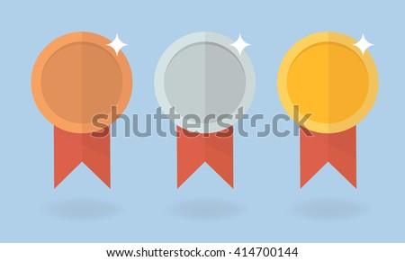 Medal vector set. Gold medal, silver medal, bronze medal. Medal icon in flat style.