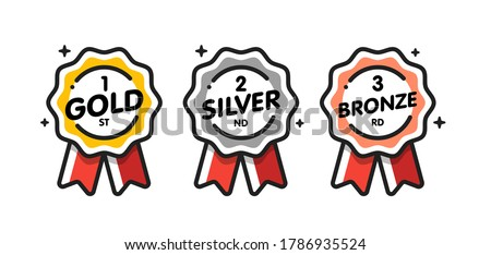 Medal vector set. Gold, silver, bronze medal. Medal icon in flat style.