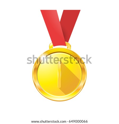 medal with a red ribbon
