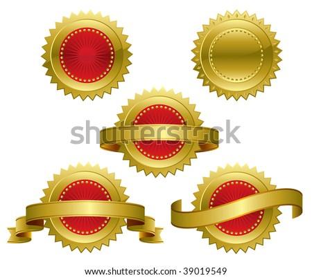 Medallions, scrolls, ribbons - vector illustration