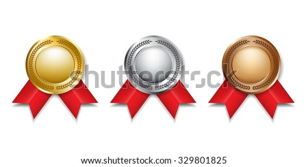 Medals and ribbons for the winners. Gold, silver and bronze colors.