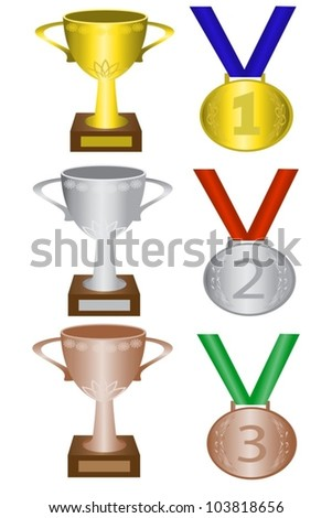 medals and trophies for first, second and third place