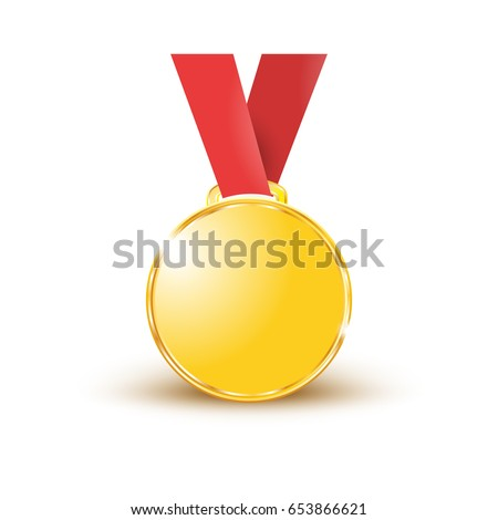 medals gold on a red ribbon