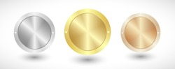 Medals logo collection. Isolated abstract graphic design template. Elegant round awards in gold, silver and bronze metallic colors. Luxury frames, decoration emblems. Set of shiny classic cup elements