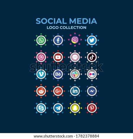 Medan, Indonesia - July 24, 2020: Gradient social media buttons logo collection. Set of most popular social media icons: Facebook, Instagram, Snapchat, Blogger,Twitter, Tango,Messenger.