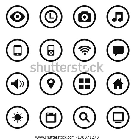 Media and communication black icons 16 in 1