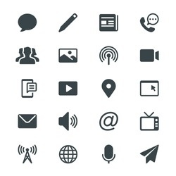 Media and communication glyph icons