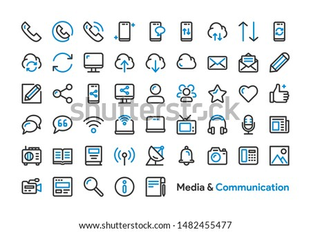 Media and Communication Icon Set with Black and Blue color. Modern Thick Line Style. Suitable for Web and Mobile Icon. Vector illustration EPS 10.