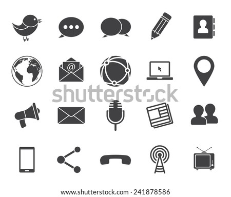 Media and communication icons (modern flat design)