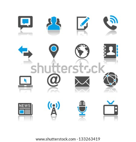 Media and communication icons reflection theme