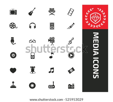 Media and entertainment icons design,clean vector