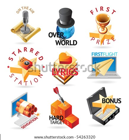 Media and entertainment icons. Heading concepts for document, article or website. Vector illustration.