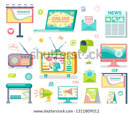 Media and outdoor advertising isolated vector objects. Roadside banner and billboard, social media and print adverts, television and radio, newsletters