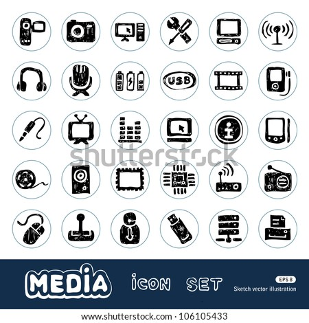 Media and social network web icons set. Hand drawn sketch illustration isolated on white background