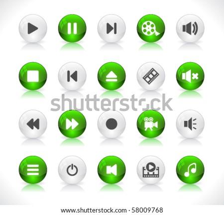 Media buttons. Vector.