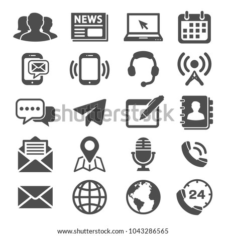 Media Communication and Contact us icons