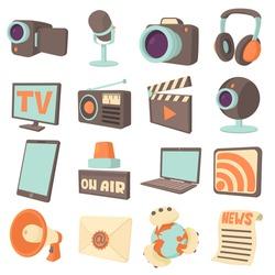 Media communications icons set. Cartoon illustration of 16 media communications vector icons for web